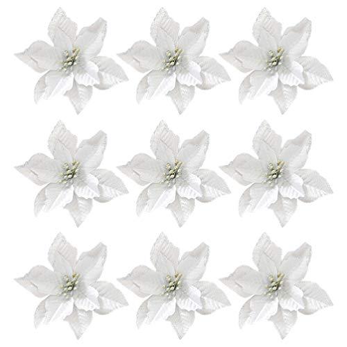 TOYANDONA 36 Pezzi di Alberi di Natale Fiori Artificiali Glitter Stella di Natale Ornamenti per Alberi di Natale (Argento)