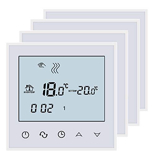 BEOK TDS21-WP Fußbodenheizung Wasser Heizung Digital Raumthermostat Thermostat Mit Touchscreen, AC200-240 V 3 A, 4 Stück, Weiß