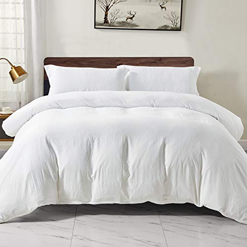 WAVVE King Duvet Cover Set with Zipper Closure - White 3 pcs with 2 pillow cases 40x75cm Ultra Soft Washed Microfiber Bedding Quilt Cover Sets, 220x230cm