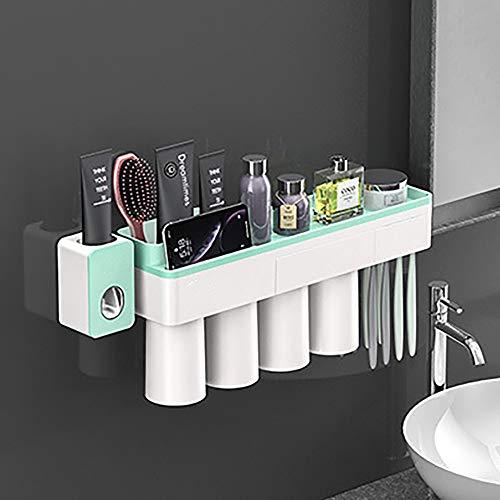 LNLN Tandenborstel Houder Automatische Tandpasta Dispenser Magnetische Adsorptie Omgekeerde Beker Wandmontage Badkamer Cleaner Opslag Rack Badkamer Accessoires Set,green-4-personen