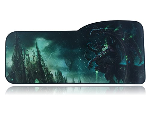 Extended Size Custom Gaming Mouse Pad - Anti Slip Rubber - Stitched Edges - Large Desk Mat - 28.5' x 12.75' x 0.12' (Illidan Stormrage)