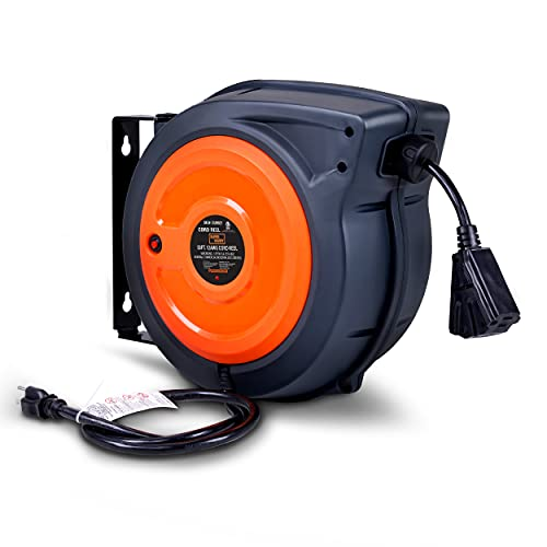 SuperHandy Extension Cord Reel Retractable Extra Long 12AWG x 65' Feet Industrial Polypropylene Ultra Heavy Duty 3C SJTOW Commercial Premium Grade Ultra Flexible Cable (S3) Triple Tap Connector