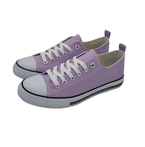 Epic Step Low Top Cap Toe Women Sneakers Tennis Canvas Shoes Casual Shoes for Women Flats- Comfortable Walking Tennis Shoes (Lavender, 7)