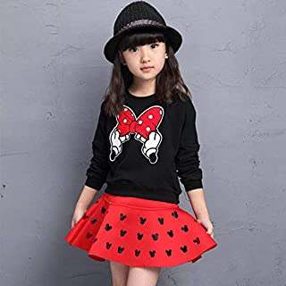 Girls Kid Dress Set Top and Skirt Mickey Mouse Children Girl Clothing Long Sleeves Coat Short Skirts 2 piece Suit Princess...