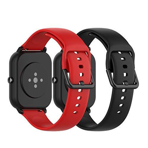 Ruentech - Correa de Silicona Compatible con Amazfit GTS/Amazfit Bip/Amazfit GTR 42mm Correa Band (Small, Negro y Rojo)