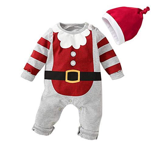Curipeer Newborn Baby Girl Boy Romper Long Sleeve Christmas Romper Bodysuit for Pictures Grey 6-12 Months