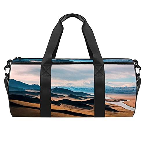 Prairie Highway Scenery Mountain Gym Bag para hombres y mujeres Bolsas de fin de semana Bolsa de viaje deportiva con bolsillo impermeable
