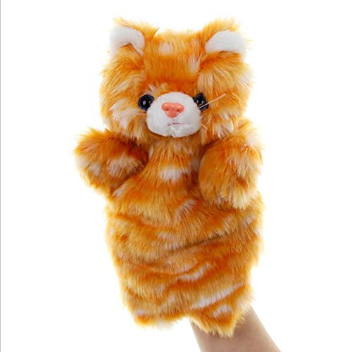 SweetGifts Cat Hand Puppets Kitty Plush Animal Toys for Imaginative Pretend Play Stocking Storytelling Orange