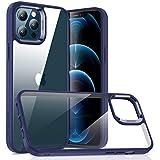 ESR Klar Hybrid Hülle Kompatibel mit iPhone 12/iPhone 12 Pro [Harte Rückseite & Weicher Rahmen] [Stoßresistente, Originale & Klar Hülle] Anti Gelb Handyhülle –Klar+Blau Rahmen