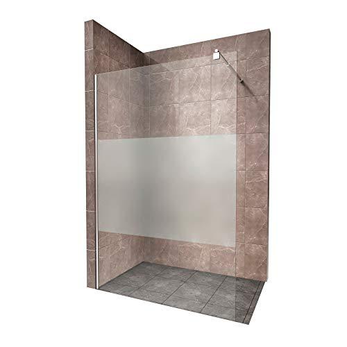 Walk In Dusche, 10mm STARK, Duschabtrennung aus TEIL-SATINIERTEM ESG Sicherheitsglas mit Edelstahl Wandprofilen #740 (80 x 200cm, Teilsatiniertes Glas)