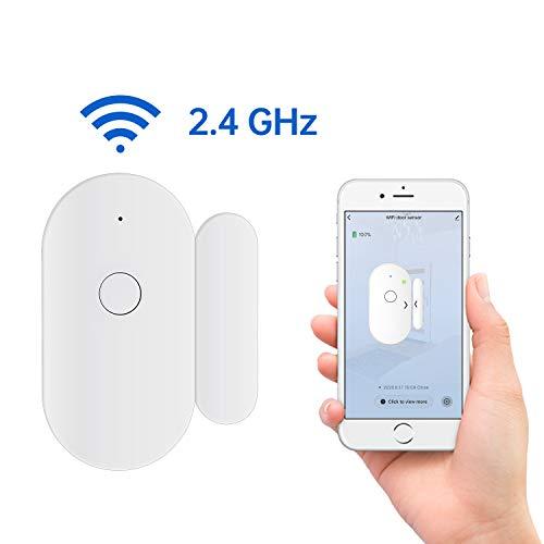 Fuers Wifi Alarmas para Puertas, Sensor de Ventana de Puerta Control por APP y Conexión Wifi, Alarma Casa funciona con Tuya Smart para el Casa, Cuarto para Bebés, Garaje, Oficina