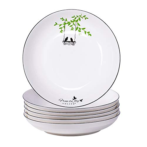 YOLIFE Large Ceramic Soup Plate Set, 8 inch Porcelain Deep Plate,Pasta Salad Bowls and Stoneware Dinner Plates,Rice Plate Set of 6(Happy Bird - Love)
