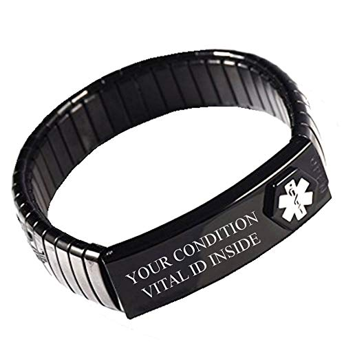 Crohn's Disease Emergency Alert Bracelet Expand Necklace tag Set Adult Man or Lady. Black. Stores ID Card Medical Condition medications Contacts Blood Group Waterproof ICE SOS