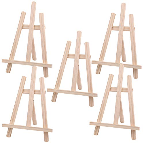 Tosnail 5 Pack 12 Inches Tall Wooden Tripod Easel Tabletop Easel Photo Painting Display