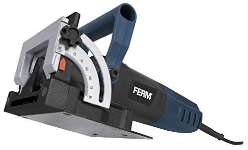 FERM Precision Biscuit Jointer - Complete Biscuit Jointer - 900W - Aluminium Base Plate - With 50 Pcs. Joint Plates (size 20), Saw Blade, Dust Collection Bag and a Robust Storage Case