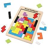 Veapero Tetris Tangram Holzpuzzles Didaktisches Lernspielzeug 40 Pcs Intelligenz Pädagigisches Spielzeug für Kinder ab 3 Jahre