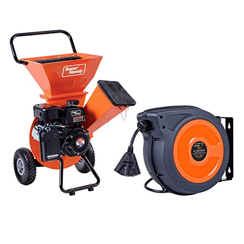 SuperHandy Wood Chipper Shredder Mulcher with Extension Cord Reel Retractable Extra Long 12AWG x 50' FT