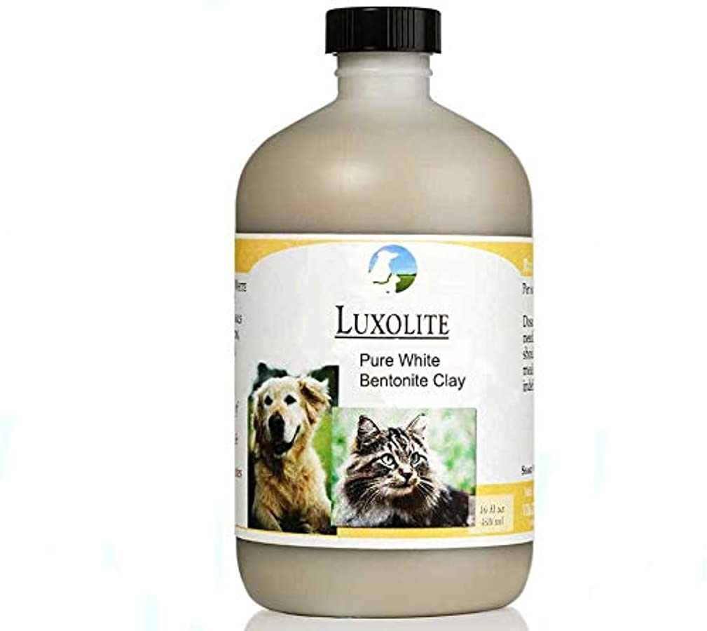 Vitality Science Luxolite Pure White Magnesium Bentonite Liquid Clay for Cats and Dogs | Supports Cardiovascular Digestive & Intestinal Health | Aids Bowel Function | 100% Additive Free
