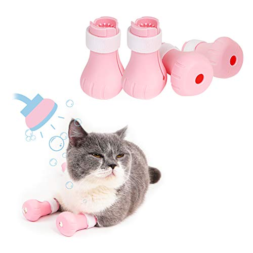 GAPZER AntiScratch Cat Shoes Pet Grooming Supplies Cat Mittens for Paws Protector Kitty Paw Covers for Bathing Shaving Injecting Taking Medicine Pink