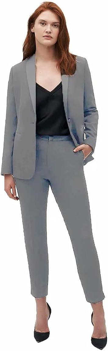 Women's 2 Piece Outfit Casual Business Blazer and Pencil Pant Suits Set Pantsuit