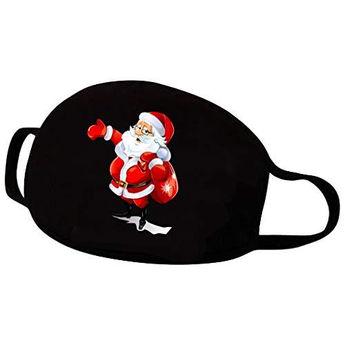riou Weihnachten Mundschutz Halstuch Weihnachtsmann Elch Motiv Waschbar Baumwolle Mund und Nasenschutz Outdoor Motorrad Multifunktionstuch für Paar (I)