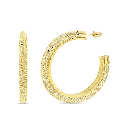 Badgley Mischka Pendientes de aro en forma de C con diamantes de imitacin tubular de malla para amarillo
