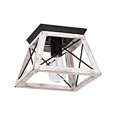 💥【 Industrial and rustic farmhouse style design 】 Features a classic iron frame with faux painted wood grain finish. Simple yet classic geometric form shape. This farmhouse flush mount ceiling light provids a modern industrial and rustic style look. ...