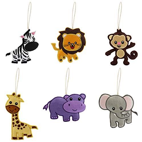 Darware Jungle Animals Decorations Set (6-Piece Set); Plush Holiday Tree Ornament Set with Baby Wild Animals: Lion, Monkey, Elephant, Hippo, Giraffe and Zebra