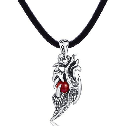 DonDon Herren Halskette Kautschuk 50 cm und Drachen Kralle Anhänger aus Edelstahl mit rotem Stein in einem Samtbeutel