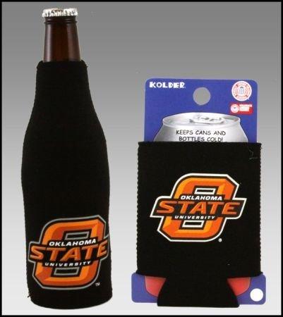 College Team Color Logo Can & Bottle Holder Insulator Beverage Cooler Set (Oklahoma State) Cowboys)
