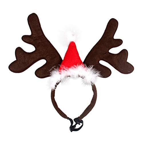 BESTOYARD Cerchietti per Cani Natale con Corna da Renna e Cappello di Babbo Natale (Rosso)