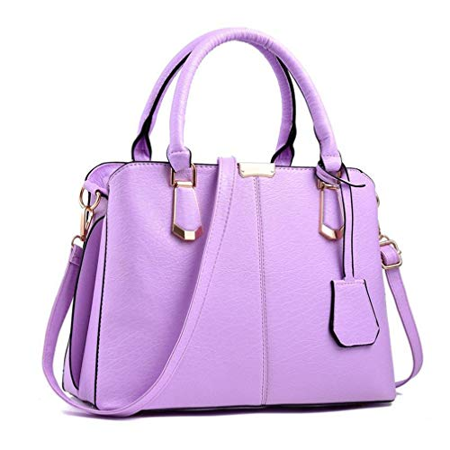 Purses and Handbags for Women Fashion Messenger Bag Ladies PU Leather Top Handle Satchel Shoulder Tote Bags (purple)