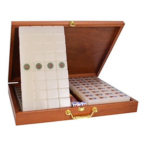 AILI Juego de fichas de Mahjong Chino Juego de Juegos de Mahjong Chino Profesional con Caja de Almacenamiento de Madera para Juego de ajedrez de Mesa de Estilo Chino Juego de Regalo fácil de Leer
