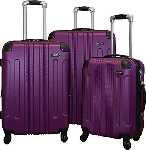 Kemyer 650 Lightweight 3-PC Expandable Hardside Spinner Luggage Spinner Set (Mauve Purple)