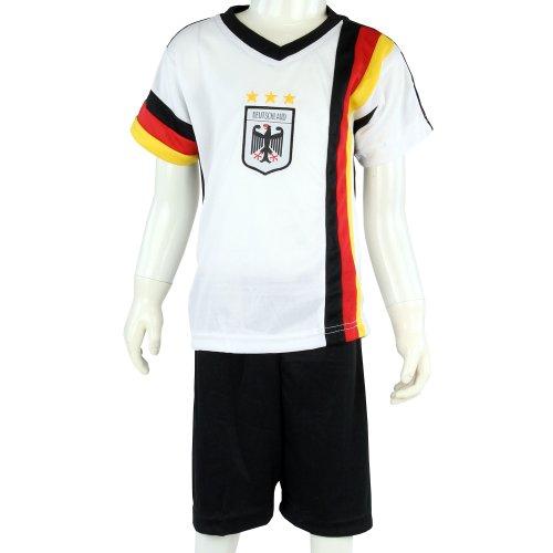 Germania WM 2014, Pallone da calcio per bambini u.bsv-Set con pantaloni e Mesh-inserti, colore bianco/Nero