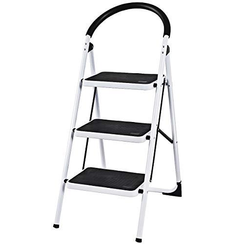 COSTWAY Trittleiter Klapptritt weiß, Stehleiter klappbar, Haushaltsleiter Stufenleiter platzsparend, Metall, Stufenstehleiter 150 kg Tragkraft (3-Stufen-Trittleiter)