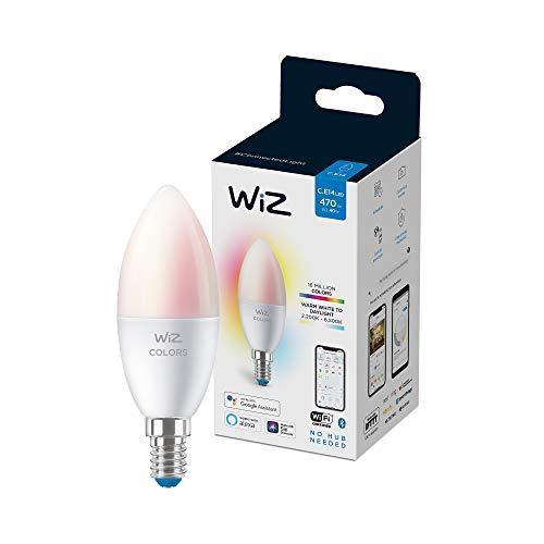 Wiz Bombilla Wifi y Bluetooth LED Regulable Colores vela 40w E14 Luz blanca y de colores, 2200-6500K, 4.9W (equivale a 40 W), A+