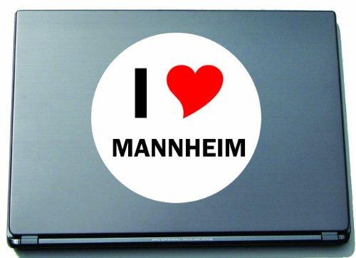 Indigos I Love Aufkleber Decal Sticker Laptopaufkleber Laptopskin 210 mm mit Stadtname Mannheim