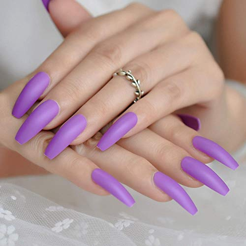 CLOAAE Matte Purple Press On False Nails Extra Long Iced Coffin Ballerina Shape Press On Fingers Snail Carry Free Adhesive Tapes