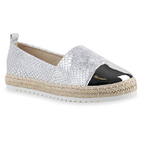 stiefelparadies Damen Espadrilles Kroko Slippers Flats Denim Ballerinas Pailletten Wildleder-Optik Übergrößen Schuhe 141957 Silber Kroko 39 Flandell