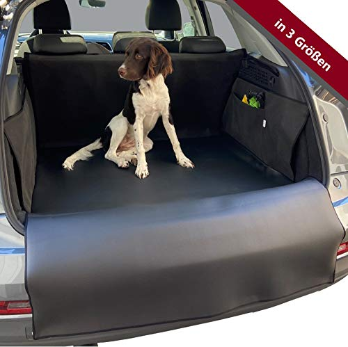 PaulePet Kunstleder Kofferraumschutz Hunde mit Ladekantenschutz in 4 Größen - Universale Autodecke für Kompaktwagen und Kleinwagen - wasserabweisend & pflegeleicht & Kratzfest