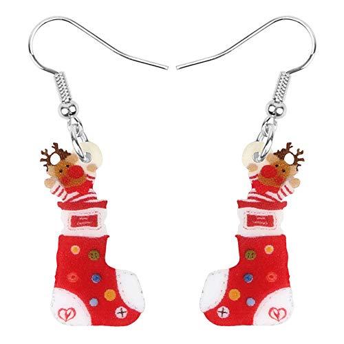 N\A Acrílico Navidad Elk Deer Calcetines Pendientes Colgante Decoración de Vacaciones Adornos Mujeres Niñas Adolescentes
