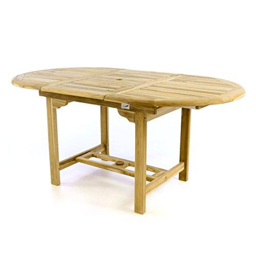 Divero Gartentisch Esstisch Balkontisch Holz Teak Tisch für Terrasse Balkon Wintergarten – oval wetterfest unbehandelt – ausziehbar 120-170 cm braun