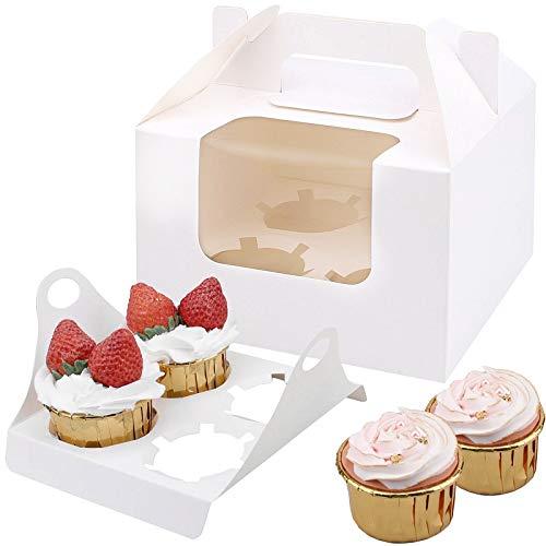 20 Cajas para Cupcakes,Cajas para Regalo con Insertar ventana y manija,Muffin Cupcake Boxes Para 4 cupcake,Accesorio para Repostería, para cumpleaños Boda Fiesta Comunion Navidad Año Nuevo,Blanco