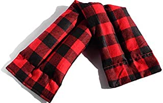 Microwavable Heating Pad, Cozy Plaid Flannel, Natural Rice Filling, Handcrafted (Red and Black Plaid)