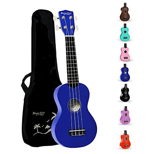 Strong Wind Soprano Ukulele 21 inch Beginner Uke Hawaii Kids Guitar With Gig Bag For Kids Beginners Students (Blue)