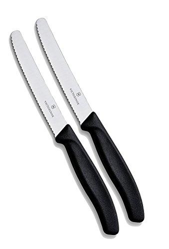 Victorinox Küchenmesser-Set 2 Stück (11cm, Extra scharfer Wellenschliff, Tafelmesser, Ergonomischer Griff, Spülmaschinengeeignet) schwarz, 2er Pack