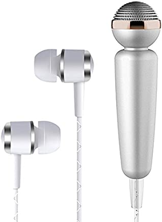 Tarkan Glowing Karaoke Noise Cancelling Microphone With In-Ear Stereo Bass Headphone, 3.5Mm Jack (Silver)