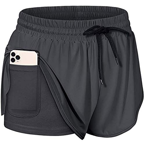 2 in 1 Damen Laufshorts, YWLINK Elastische Yoga Sport-Shorts mit Taschen, hochelastische schnell trocknende Fitnessshose, Atmungsaktiv Trainings-Joggershorts, Running Workout Shorts (M, Dunkelgrau)