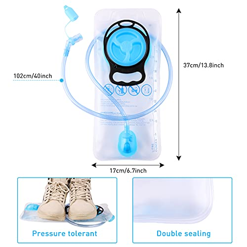 KUSTAR Hydration Bladder 2L Leakproof Water Reservoir, BPA Free, Wide Opening, Military Water Storage Bladder Bag with Tube, Hydration Backpack Replacement for Outdoor Hiking Camping Running Cycling
